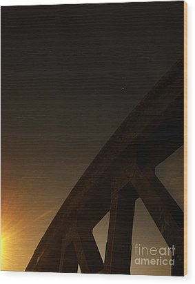 Wood Print featuring the photograph Starry Night On Sunset Bridge by Andy Prendy