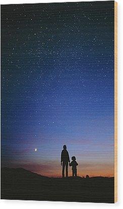 Starry Sky And Stargazers Wood Print by David Nunuk