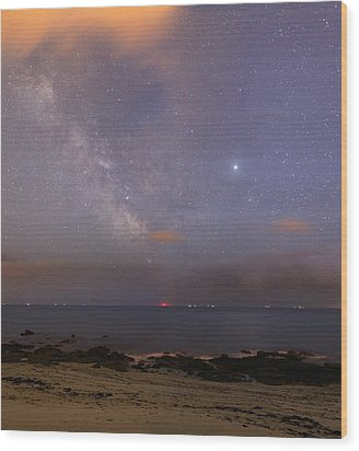 Stars And Jupiter In A Night Sky Wood Print by Laurent Laveder