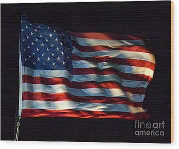 Stars And Stripes At Night Wood Print by Kevin Fortier