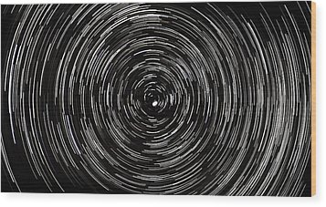 Startrails With Polaris At Center Wood Print by Cristian Mihaila