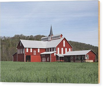Stately Red Barn With Elongated Clerestory Cupola Wood Print by John Stephens