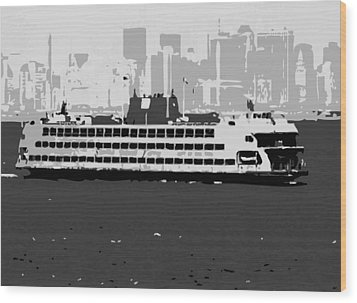 Staten Island Ferry Bw3 Wood Print by Scott Kelley