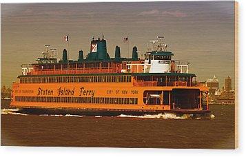 Wood Print featuring the photograph Staten Island Ferry by Nancy De Flon
