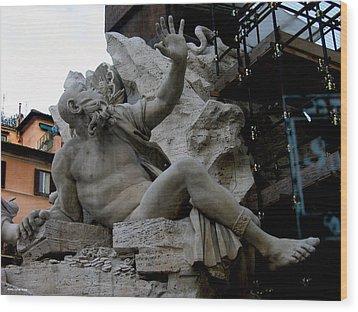 Statue At Piazza Wood Print by Suhas Tavkar