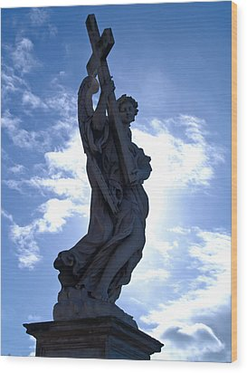 Statue In Rome Wood Print by Andres Leon