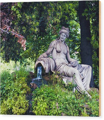 Statue In The Woods Wood Print by Fabrizio Troiani