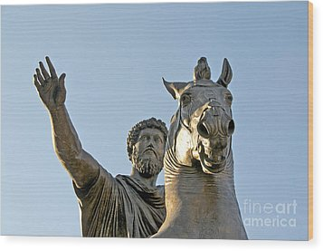 Statue Of Marcus Aurelius On Capitoline Hill Rome Lazio Italy Wood Print by Bernard Jaubert