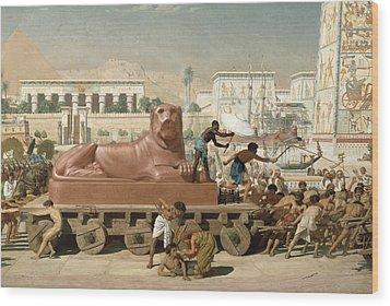 Statue Of Sekhmet Being Transported  Detail Of Israel In Egypt Wood Print by Sir Edward John Poynter