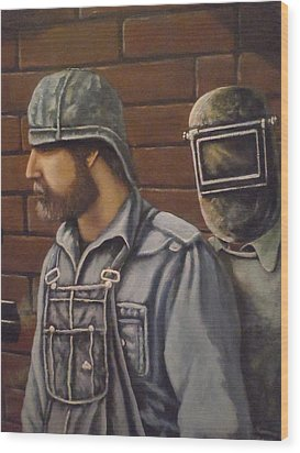 Wood Print featuring the painting Steam Fitter And Welder by James Guentner