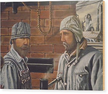 Wood Print featuring the painting Steam Fitters At The Mill by James Guentner