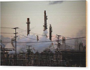 Steam Plumes At Oil Refinery Wood Print by Hal Bergman