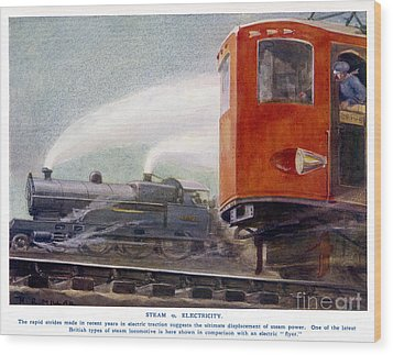 Steam Trains Versus Electric Wood Print by Mary Evans and Photo Researchers