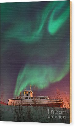 Steamboat Under Northern Lights Wood Print by Priska Wettstein