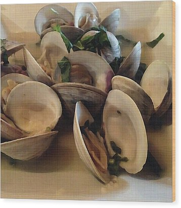 Steamed Clams Wood Print
