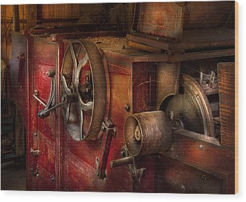 Steampunk - Gear - It Used To Work Wood Print by Mike Savad