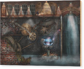 Steampunk - Industrial Society Wood Print by Mike Savad
