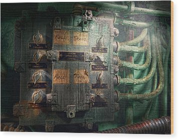 Steampunk - Naval - Electric - Lighting Control Panel Wood Print by Mike Savad