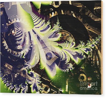 Steampunk Abstract Fractal . S2 Wood Print by Wingsdomain Art and Photography