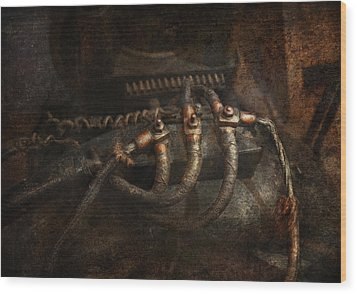 Steampunk - Electrical - Frayed Connections Wood Print by Mike Savad