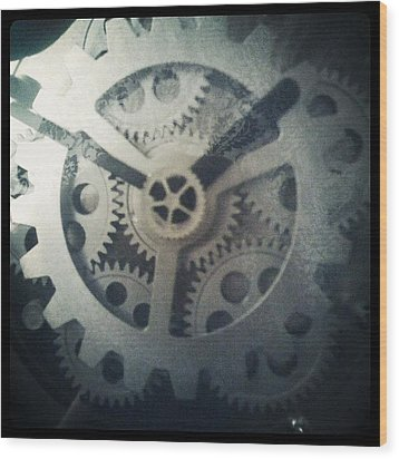 #steampunk #gears #clock #webstagram Wood Print by KLH Streets Photography