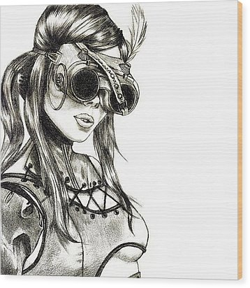 Steampunk Girl 1 Wood Print by Andres R