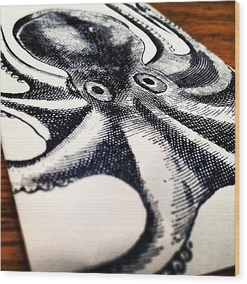 #steampunk #octopus #vintage Wood Print by Aileen Munoz