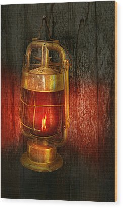 Steampunk - Red Light District Wood Print by Mike Savad