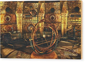 Steampunk Time Lab Wood Print
