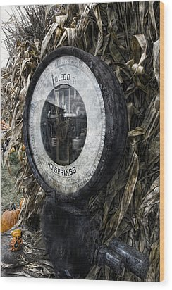 Steampunkin Scale Wood Print by Peter Chilelli