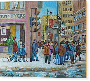 Ste.catherine And Peel Streets Wood Print by Carole Spandau