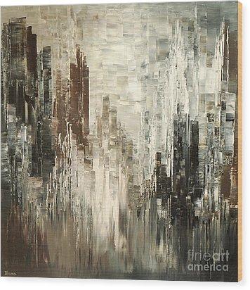 Wood Print featuring the painting Steel Towers by Tatiana Iliina