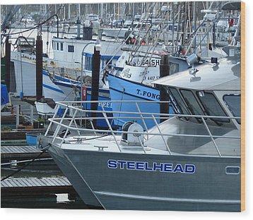 Steelhead And Fishing Boats Wood Print by Jeff Lowe