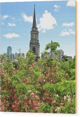 Wood Print featuring the photograph Steeple Peeks Through Shower Trees by Craig Wood