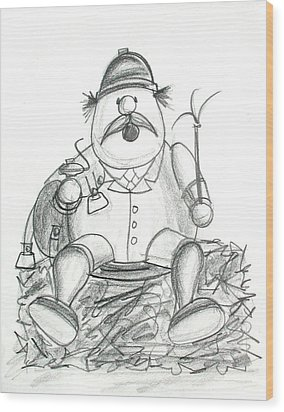 Steinbach German Rider Ornament Sketch Wood Print by Andrew Fling