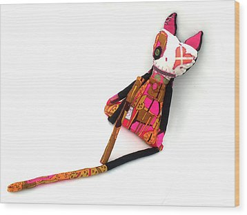 Stella The 70's Sex Kitten Wood Print by Oddball Art Co by Lizzy Love