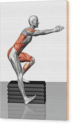 Step-down Exercises Wood Print by MedicalRF.com