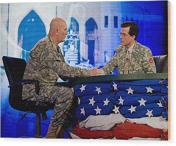 Stephen Colbert Interviews Marine Wood Print by Everett
