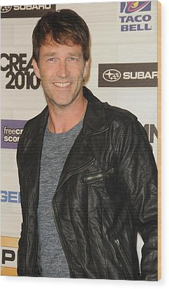 Stephen Moyer At Arrivals For Spike Wood Print by Everett