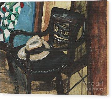 Stephen's Fedora Wood Print by Sandra Richardson