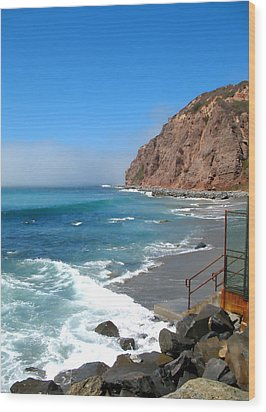 Steps To The Beach. Dana Point California Wood Print by Connie Fox