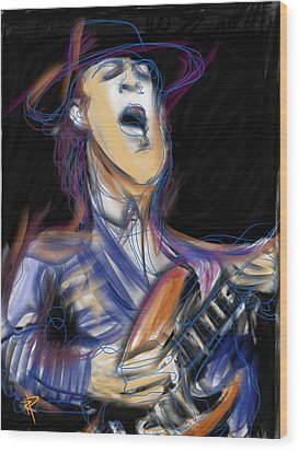 Stevie Ray Wood Print by Russell Pierce