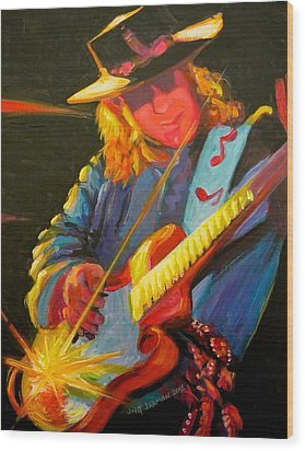 Stevie Ray Vaughn Wood Print by Jeanette Jarmon