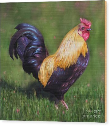 Stewart The Bantam Rooster Wood Print by Michelle Wrighton