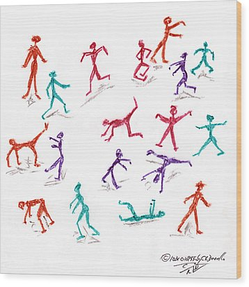 Stickmen October Two Thousand One Wood Print by Carl Deaville