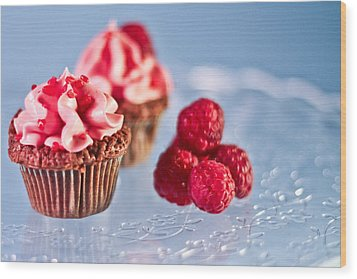 Sticky Raspberry Chocolate Cupcake Wood Print by Birgitta Forsberg