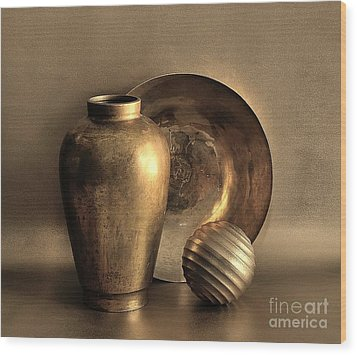 Still Life In Gold Wood Print by Mark Fuller