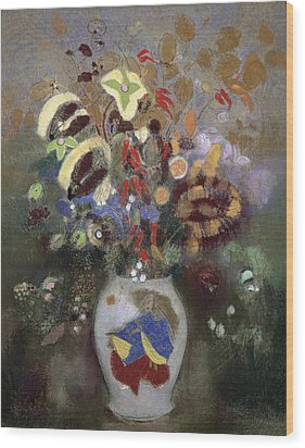 Still Life Of A Vase Of Flowers Wood Print by Odilon Redon