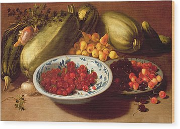 Still Life Of Cherries - Marrows And Pears Wood Print by Italian School