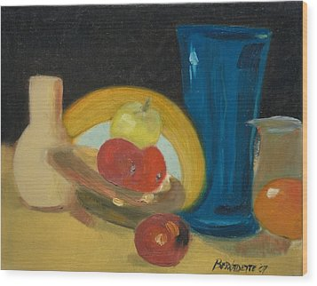 Still Life Of Fruit Wood Print by Bernadette Krupa
